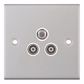 Satellite & TV/FM Sockets - 1 Gang F-Type Satellite + 2 x 1 Gang TV/FM Coaxial/Aerial 5M
