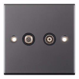 Satellite & TV/FM Sockets - 1 Gang F-Type Satellite + 1 Gang TV/FM Coaxial/Aerial 5M