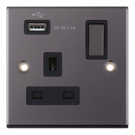 1 Gang Switched with 1xUSB Port 13 Amp 5M Socket Outlet