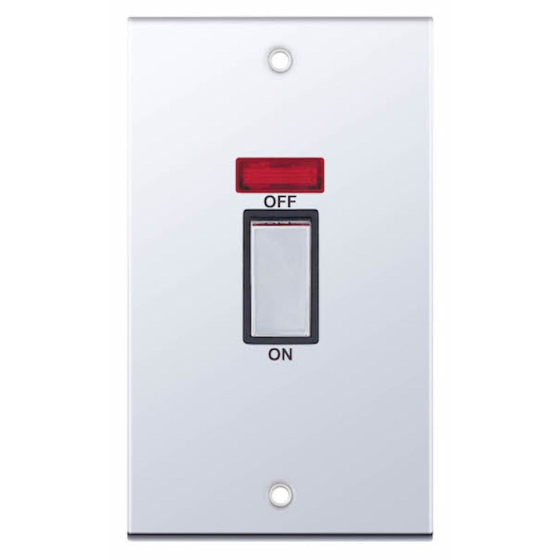 2 Gang Plate with Neon - 45 Amp 5M Plate Switches
