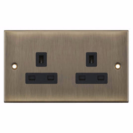 2 Gang Unswitched with 2 Earth Terminals 13 Amp 5M Socket Outlet