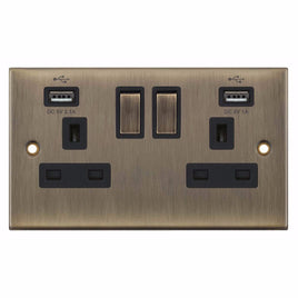 2 Gang Switched with 2xUSB Port 13 Amp 5M Socket Outlet