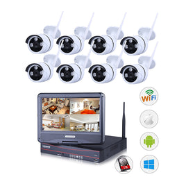 Outdoor Wireless IP Camera System WIFI NVR (8 x IP Cameras)