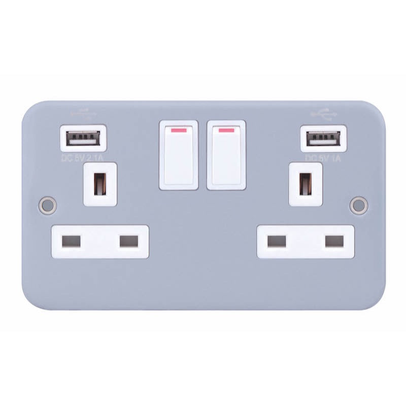 2 Gang Switched with 2 x USB Ports 2.1A / 1A 13 Amp USB Socket Outlets