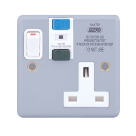 RCD Protected 1 Gang DP Switched Socket (passive/latching) 13 Amp RCD Socket Outlets