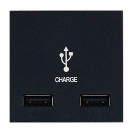 2 Gang USB Charger Module in Black