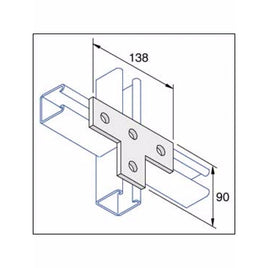 Unistrut Flat Tee Plate Bracket 4 Hole Hot Dip Galvanised P1031
