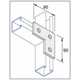 Unistrut Flat Plate Right Angle Bracket 3 Hole Hot Dip Galvanised P1036