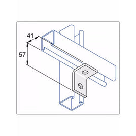 Unistrut 90 Degree Angle Bracket 2 Hole (1x1) Hot Dip Galvanised (P1068)