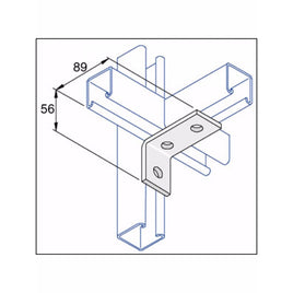 Unistrut 90 Degree Angle Bracket 3 Hole (2x1) Hot Dip Galvanised (P1458)