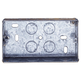 2 Gang 25mm Recessed Metal Back Box