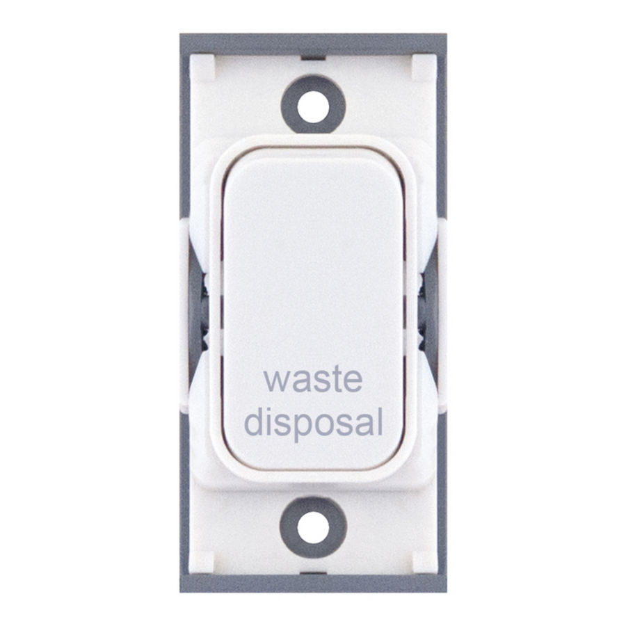 "20A DP switch engraved ""waste disposal"""