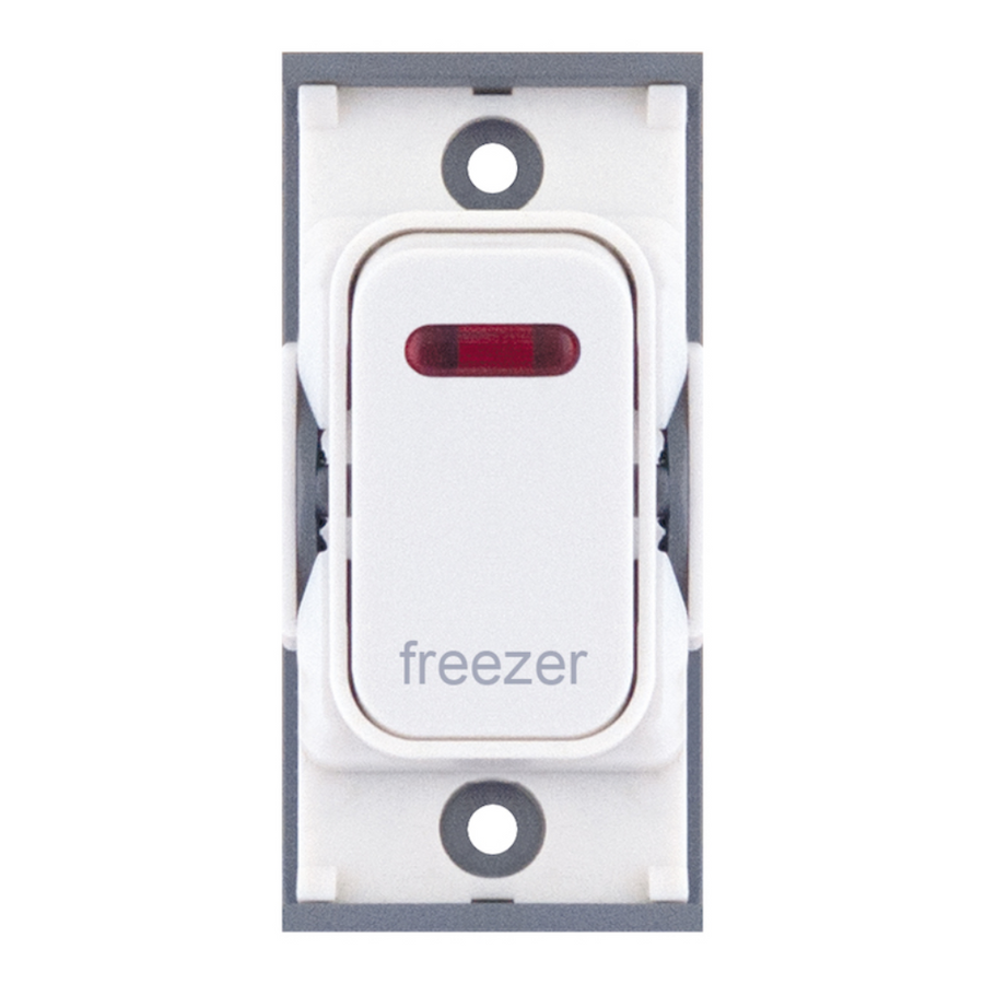 "20A DP switch with neon, engraved ""freezer"""