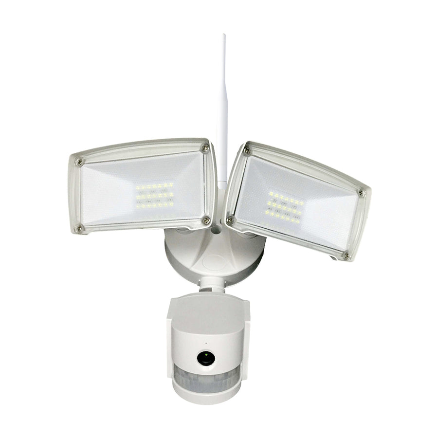 Wifi Outdoor Floodlight With PIR & Security Camera White Body