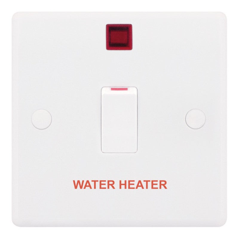 "1 Gang 20 Amp DP Switch with Neon ""WATER HEATER"" Smooth"