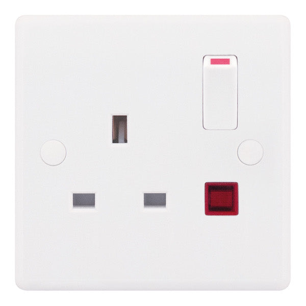 1 Gang Switched DP with Neon 13 Amp Socket Outlet Smooth