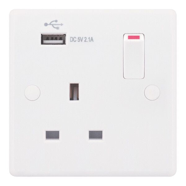 1 Gang Switched + 1 x USB Port 13 Amp Socket Outlet Smooth
