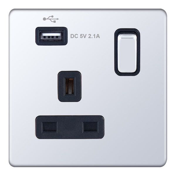 1 Gang Switched with 1 x USB Port -13 Amp USB Socket Outlets 5M-Plus