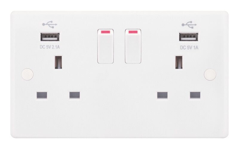 2 Gang Switched + 2 x USB Ports 13 Amp Socket Outlet Smooth