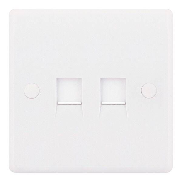 2 Gang RJ45 Computer Data Outlet Socket White