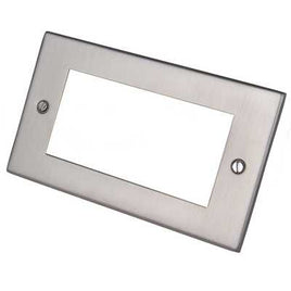 Euro Media/Data Plate – Satin Chrome 4 Aperture