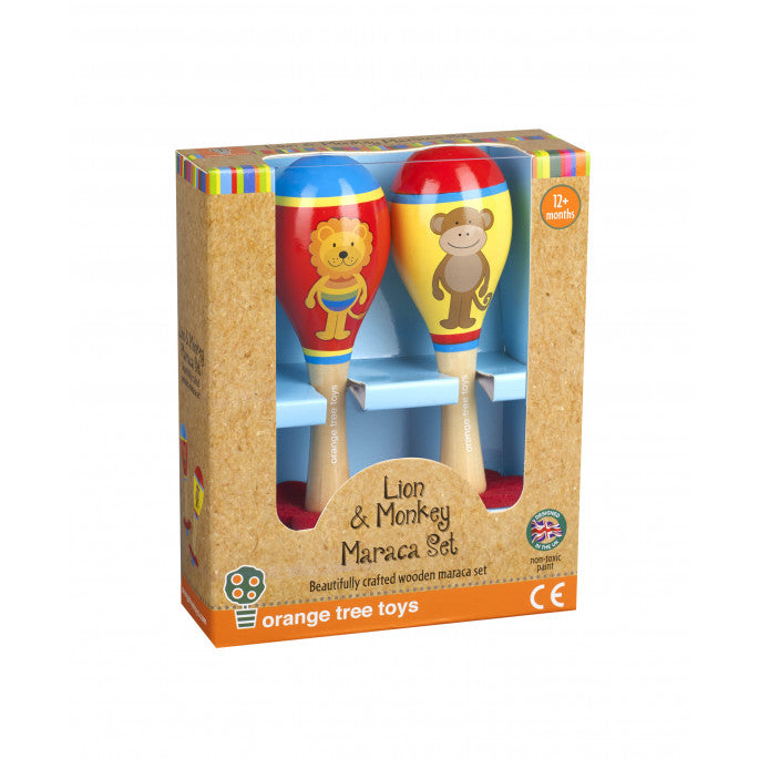 Orange Tree Lion and Monkey Maraca Set