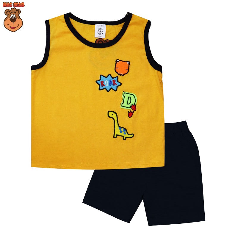 MacBear Kids Baju Anak Setelan Singlet Dino Roar Red & Yellow