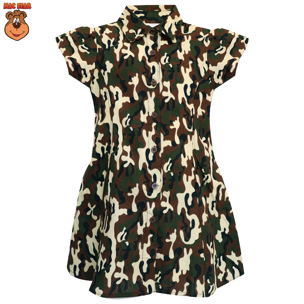 MacBee Kids Dress Anak Variasi Kerah Kemeja Army Power
