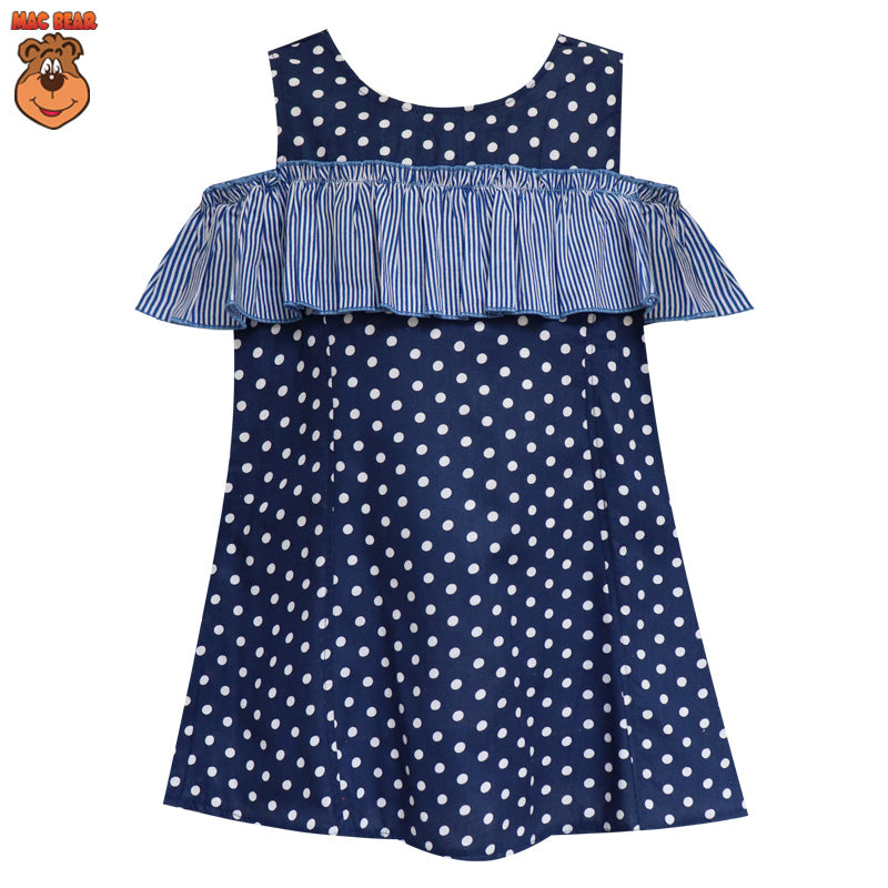 MacBee Junior Baju Anak Dress Chika Polka Variasi Lengan Sabrina