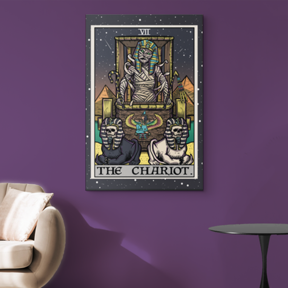 teelaunch Canvas Wall Art 2 8 x 12 The Chariot Tarot Card - Ghoulish Edition Canvas Print
