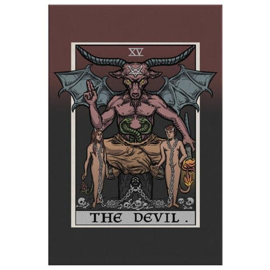 teelaunch Canvas Wall Art 2 8 x 12 The Devil Tarot Card - Ghoulish Edition Canvas Print