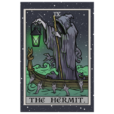teelaunch Canvas Wall Art 2 8 x 12 The Hermit Tarot Card - Ghoulish Edition Canvas Print