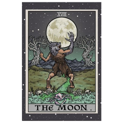 teelaunch Canvas Wall Art 2 8 x 12 The Moon Tarot Card - Ghoulish Edition Canvas Print
