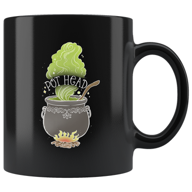 teelaunch Drinkware 11 oz Pot Head Black Coffee Mug