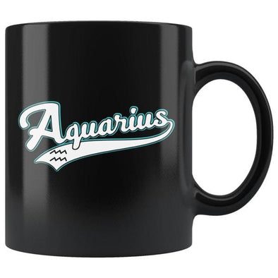 teelaunch Drinkware 11oz Aquarius - Baseball Style Black Coffee Mug