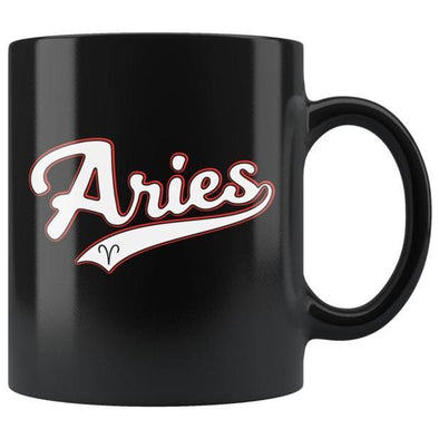 teelaunch Drinkware 11oz Aries - Baseball Style Black Coffee Mug