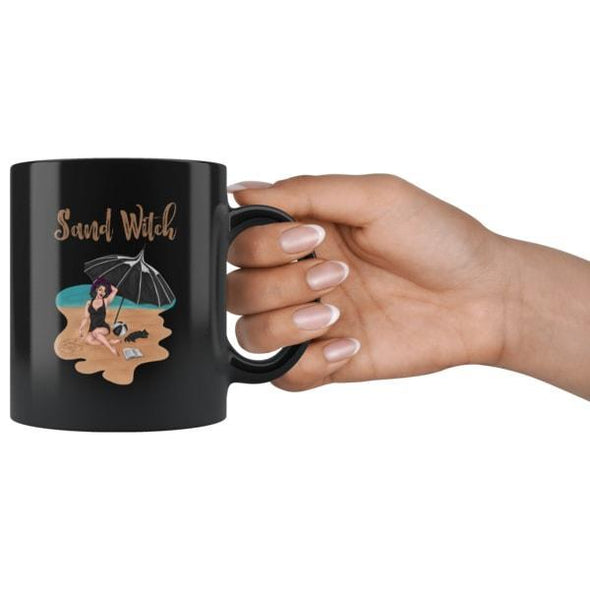 teelaunch Drinkware 11oz Sand Witch Black Coffee Mug