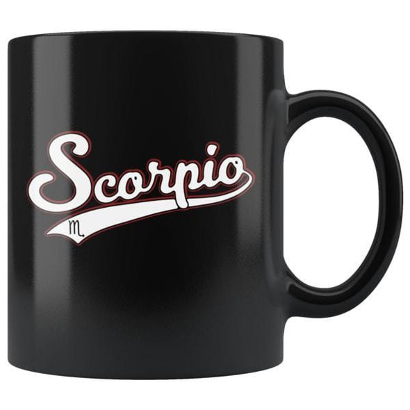 teelaunch Drinkware 11oz Scorpio - Baseball Style Black Coffee Mug