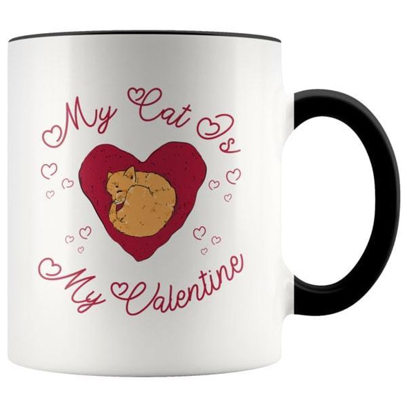 teelaunch Drinkware Black My Cat Is My Valentine Accent Coffee Mug
