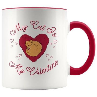 teelaunch Drinkware Red My Cat Is My Valentine Accent Coffee Mug