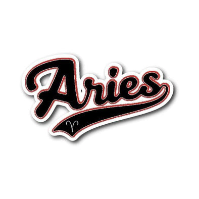 teelaunch Stickers Sticker Aries - Baseball Style Sticker