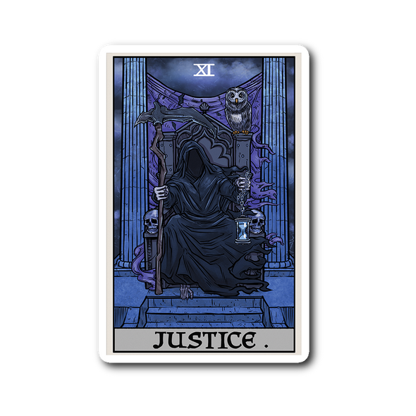 teelaunch Stickers Sticker Justice Tarot Card - Ghoulish Edition Sticker