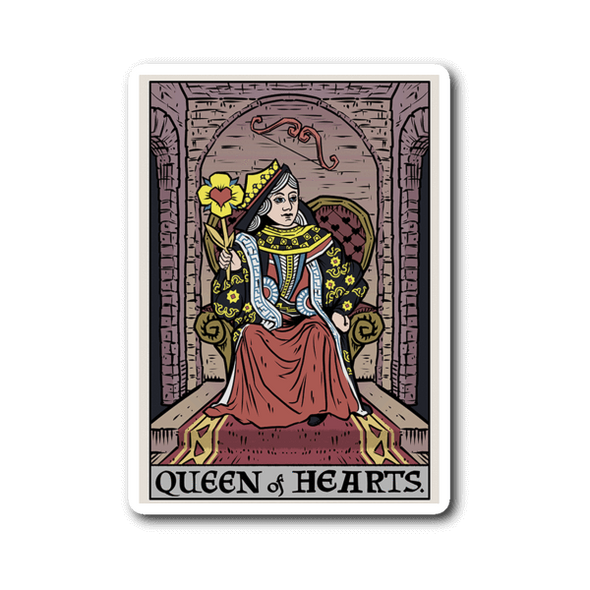 teelaunch Stickers Sticker Queen of Hearts In Tarot Sticker
