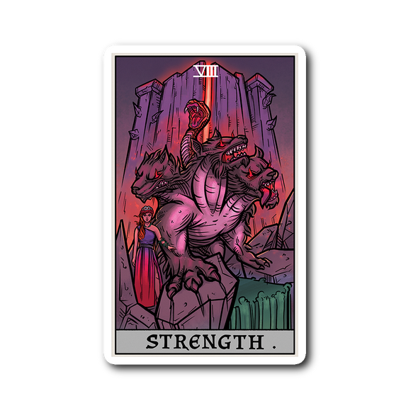 teelaunch Stickers Sticker Strength Tarot Card - Ghoulish Edition Sticker