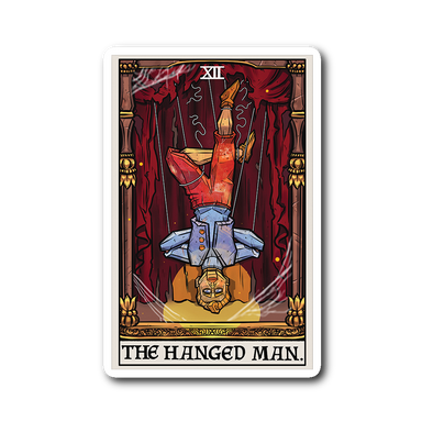 teelaunch Stickers Sticker The Hanged Man Tarot Card- Ghoulish Edition Sticker