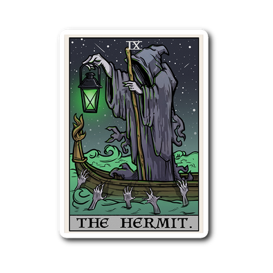 teelaunch Stickers Sticker The Hermit Tarot Card - Ghoulish Edition Sticker