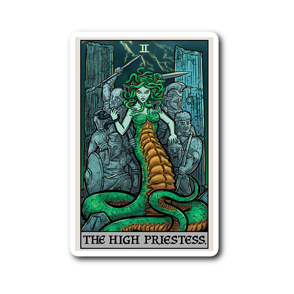 teelaunch Stickers Sticker The High Priestess Tarot Card - Ghoulish Edition Sticker