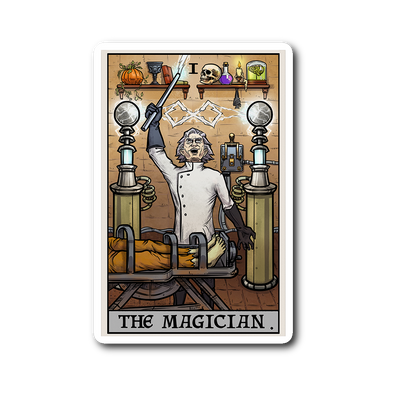 teelaunch Stickers Sticker The Magician Tarot Card - Ghoulish Edition Sticker