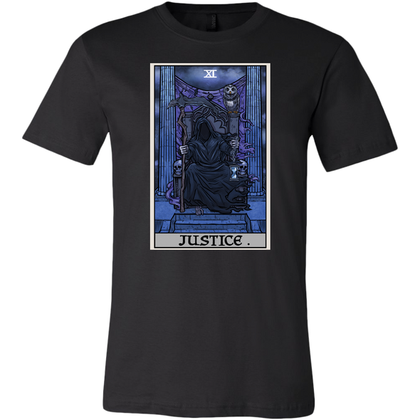 teelaunch T-shirt Canvas Mens Shirt / Black / S Justice Tarot Card - Ghoulish Edition Unisex T-Shirt