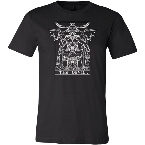 teelaunch T-shirt Canvas Mens Shirt / Black / S The Devil Monochrome Tarot Card Unisex T-Shirt